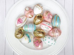 elegantly decorated Lover era easter eggs